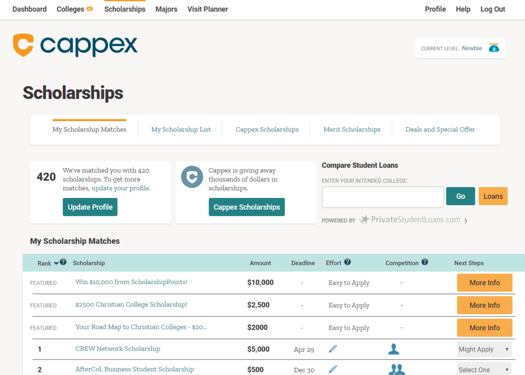 Screenshot of Cappex Scholarship Search