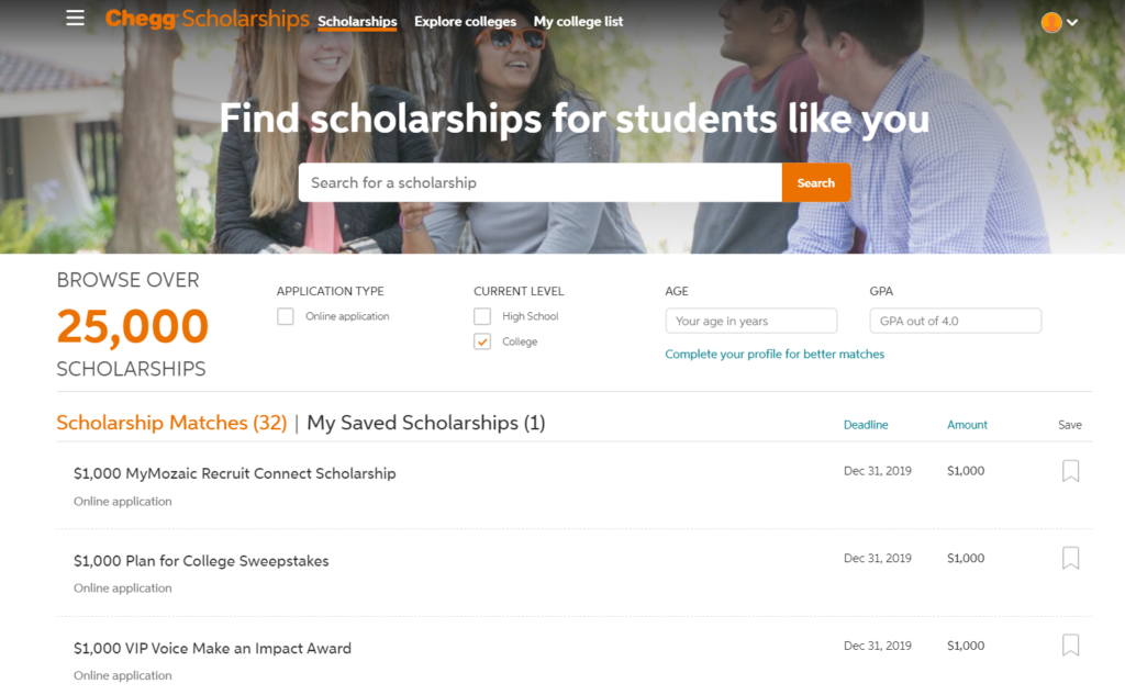 Screenshot of Chegg Scholarship Search