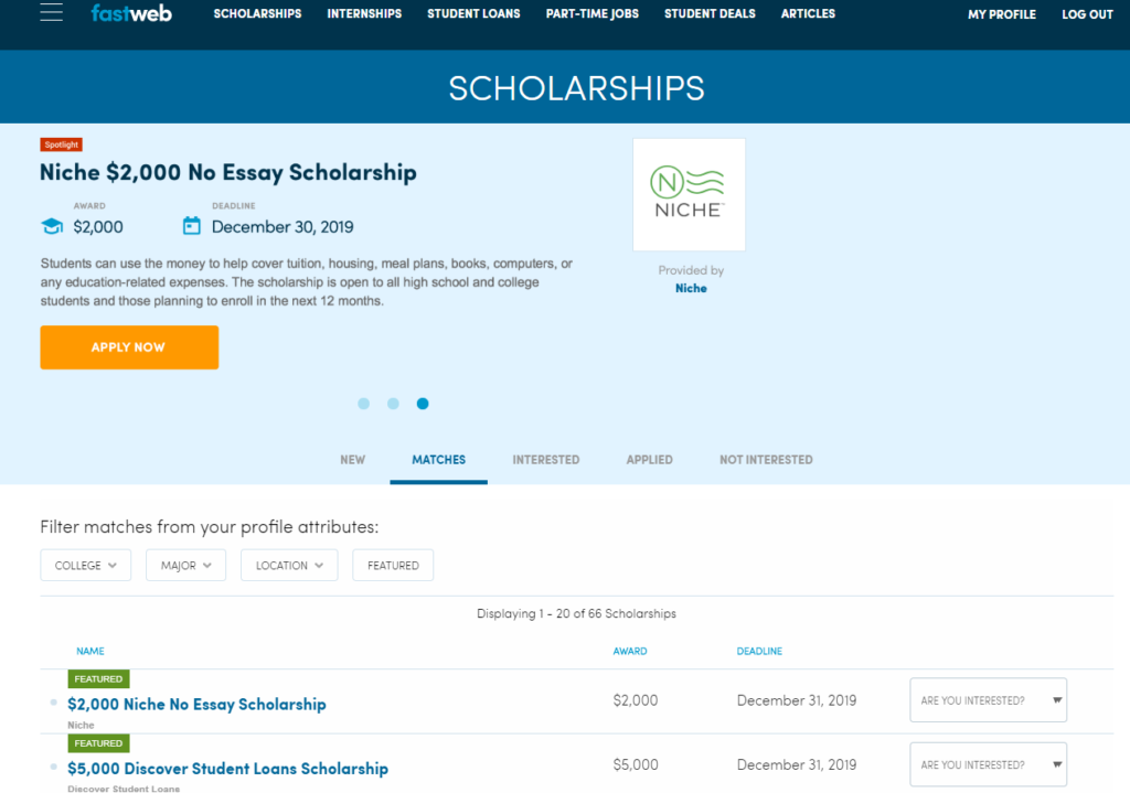 Screenshot of Fastweb Scholarship Search