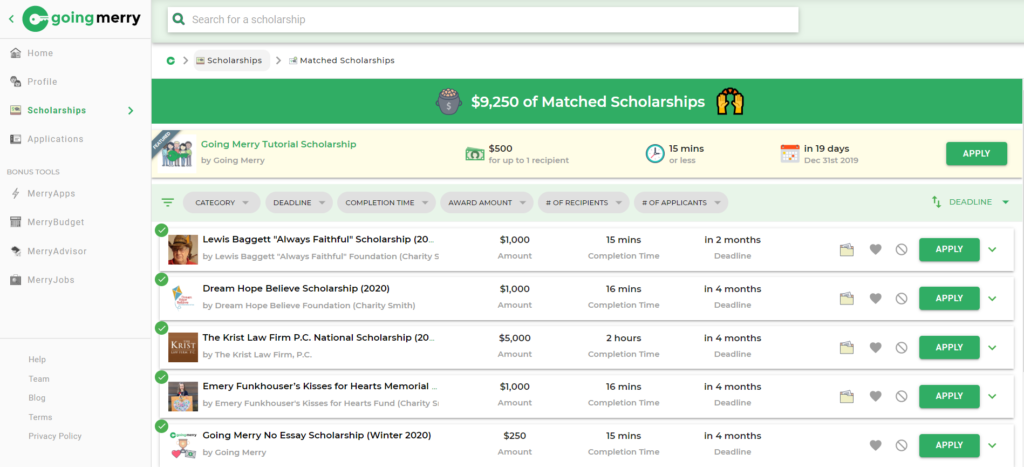 Screenshot of Going Merry best scholarship websites search