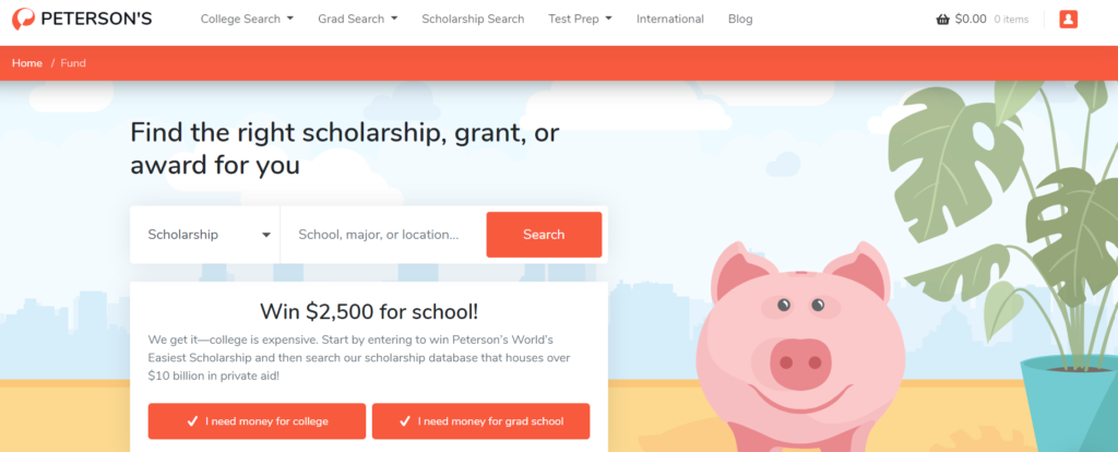 Screenshot of Peterson's Scholarship Search