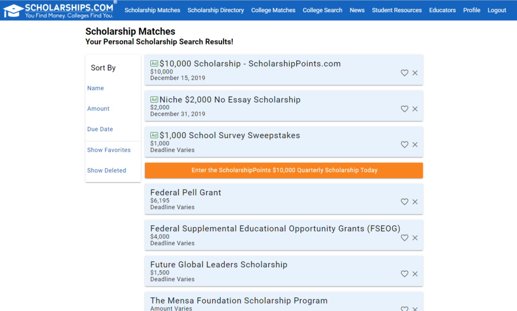 Screenshot of Scholarships.com scholarship search