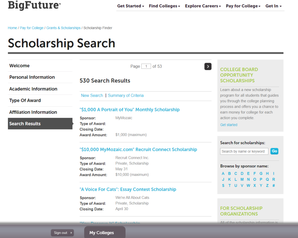 Screenshot of The College Board scholarship search