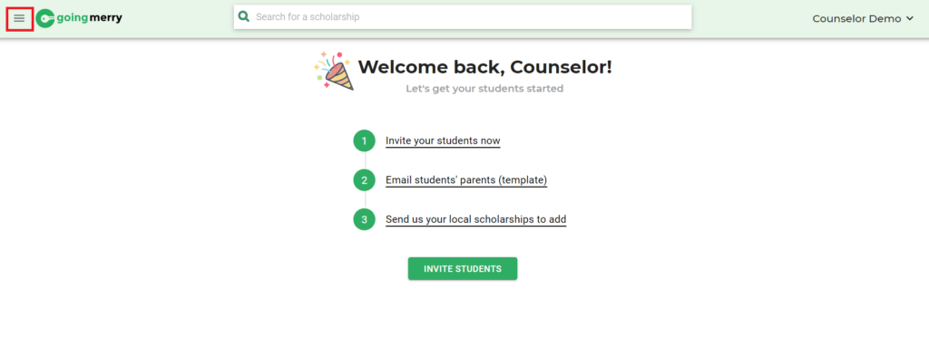 Counselor Sidebar Hidden, Going Merry Scholarship Platform
