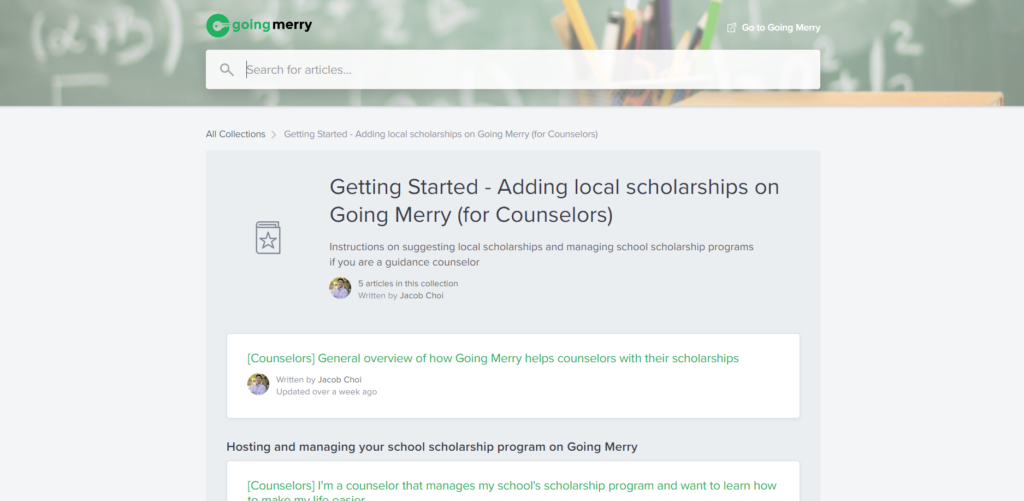 Knowledge Base Support on Going Merry Scholarship Platform