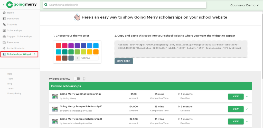 Scholarships Widget on Going Merry Scholarship Platform