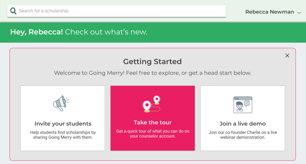 Going Merry counselor portal - Getting started box