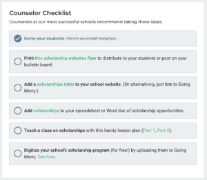 Going Merry counselor checklist